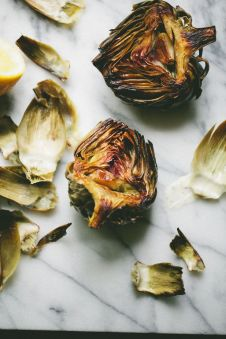 lemon + garlic roasted artichokes