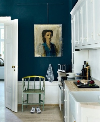 hague blue contrasting in a pretty way with white kitchen cabinets